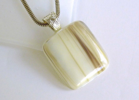 Fused Glass Pendant in Streaky French Vanilla and Brown