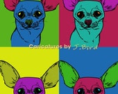 Andy Warhol style Chihuahua dog 8x10 print