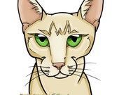 8x10 Egyptian Mau cat caricature print by J.Bird color and markings are customizable read listing for more info