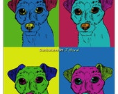Andy Warhol style Jack Russell dog 5x7 print