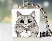 Scrabble tile pendant charm of Siberian caticature