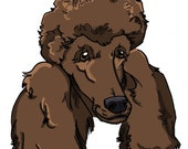 8x10 brown Poodle dogicature print by J.Bird