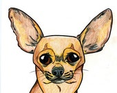 8x10 Chihuahua dogicature print by J.Bird