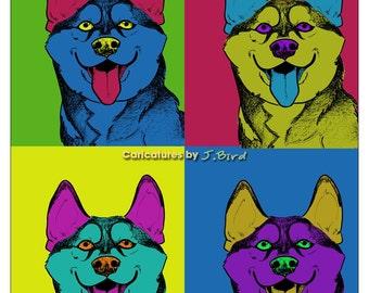 Andy Warhol style Huskie Malamute dog 8x10 print