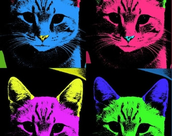 Andy Warhol style Tabby Cat 8x10 print