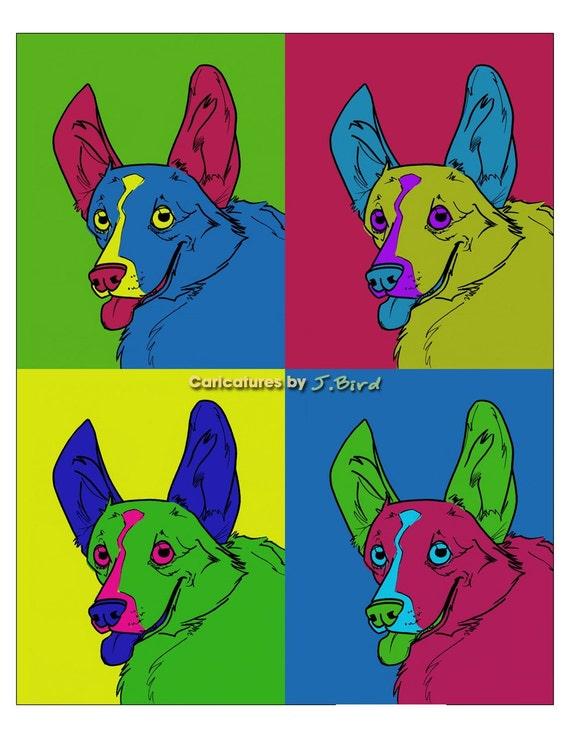 Andy Warhol style Welsh Corgi dog 8x10 print