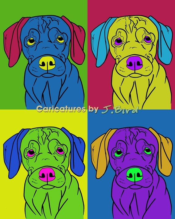 Andy Warhol style Rhodesian Ridgeback dogicature 8x10 print