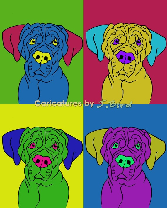 Andy Warhol style Tosa Inu dogicature 8x10 print