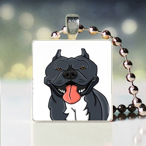 Scrabble tile pendant charm of American Pit Bull blue Dogicature