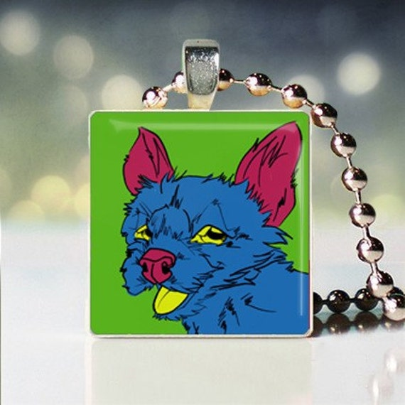Scrabble tile pendant of Andy Warhol style West Highland Terrier