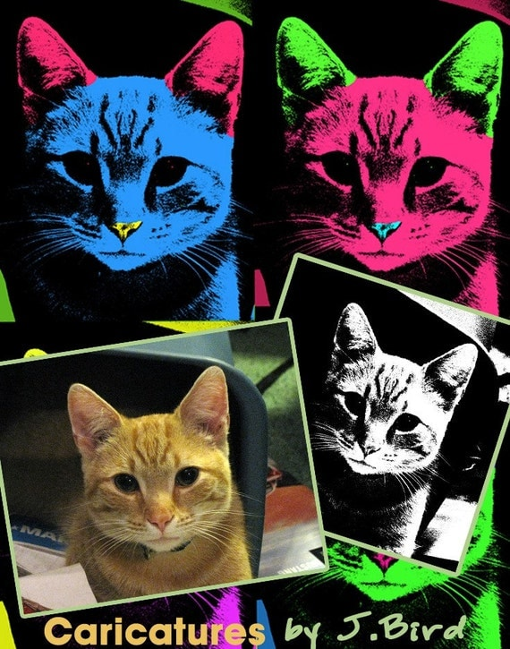 Custom Andy Warhol style of your pet 8x10 print FREE SHIPPING in the USA