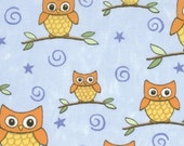 SALE - Whos Who Owl fabric in Blue Sky by Deb Strain for Moda - 1 Yard