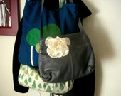 Stormy Sea Leather Purse with a Dogwood Flower