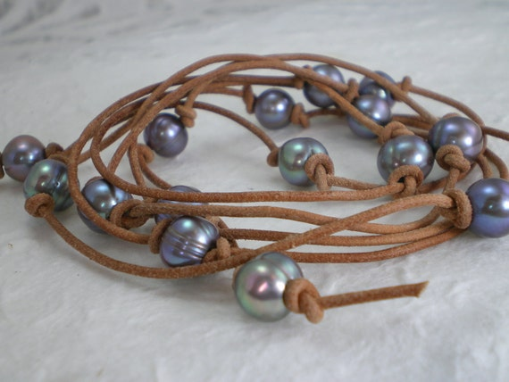 Blue Silver Freshwater Pearl Leather Cord Wrap Lariat Necklace Bracelet 49 in