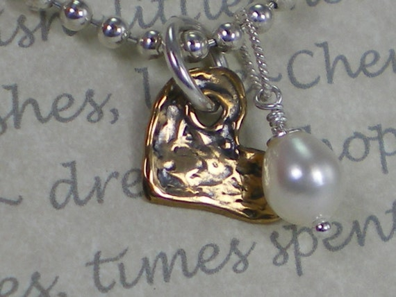 Heart and Pearl Charm Pendant Necklace Sterling Silver Ball Chain