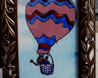 Two on a Balloon Ride ACEO original mixed media      not included with frame