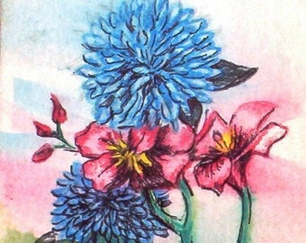 Matte card Print of Four Flowers ACEO original water color and ink