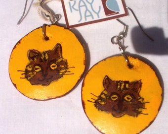 Gourd Cat Head earrings painted acrylic
