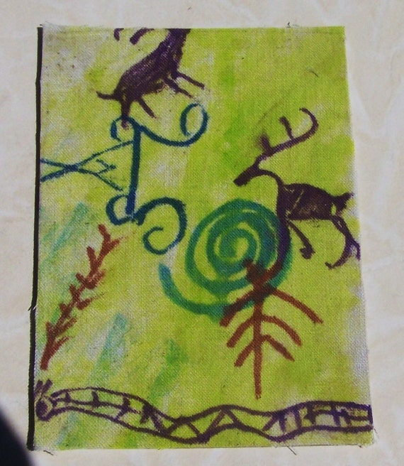 ACEO art print from some petroglyphs I photographed in Utah Wildife and Corn at the watering hole.