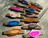 Agate Slice Hair Jewelry. Stone & Vintage Brass Barrettes