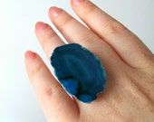 Agate Stone Cocktail Ring. Cobalt Blue