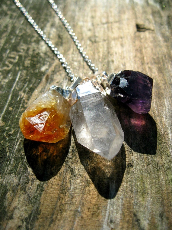 Triple Crystal Necklace. Silver Dipped Amethyst Citrine & Quartz