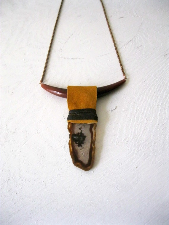Agate And Buckskin Longhorn Necklace. One of a Kind