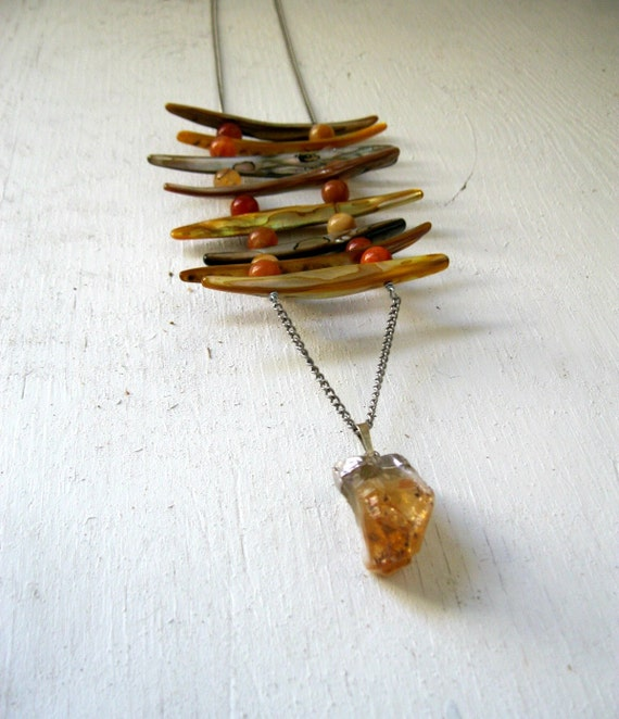 Seashell and Citrine Crystal Breastplate Necklace. Native Mermaid