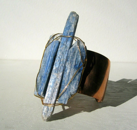 Kyanite Crystal And Copper Cuff. Blue Moon