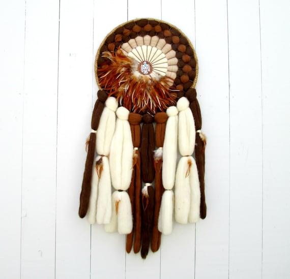 Dreamcatcher Vintage Medicine Wheel Mandala Wool Leather Turquoise Southwestern Native American Wall Hanging
