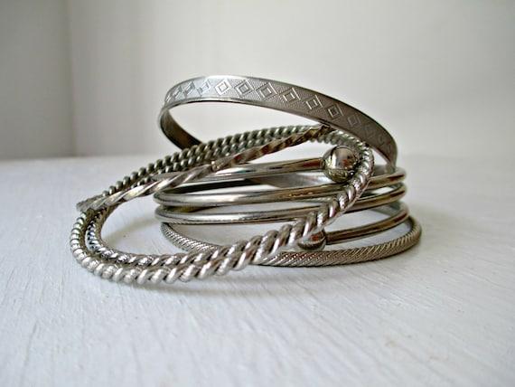 Vintage Bangle Bracelets Instant Collection Set of 6 Summer Boho Trend Bracelet Stack