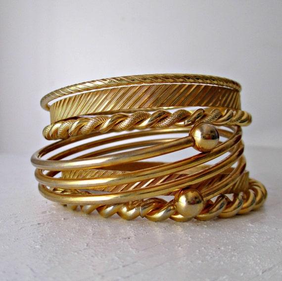 Vintage Brass Bangle Bracelets Instant Collection Set of 6 Summer Boho Trend Bracelet Stack