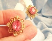 Vintage Coro Oval Pink Rhinestones with Golden Filigree Frame Screw On Earrings
