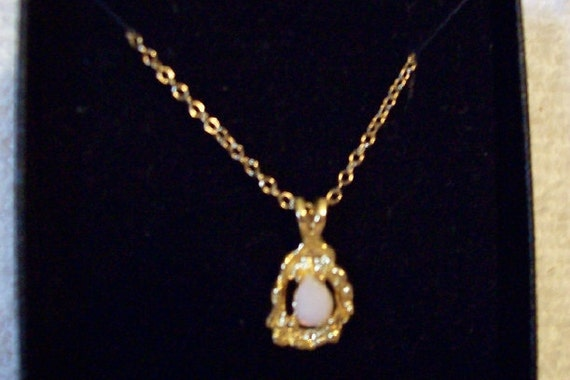 Ronte Of Beverly Hills Genuine Opal Pendant Golden Trim And