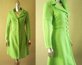 1960s Alfred Werber Bright Green Neon Coat Dress SM