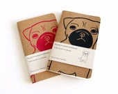 Hand printed pug notebook in red