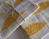 Hand printed golden yellow Bird brolly fabric