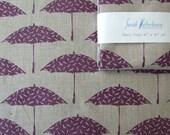 Hand printed Purple Bird Brolly fabric