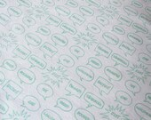 Hand printed Fabric Mint Green English Insults Organic Cotton