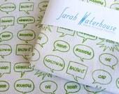 Hand printed Fabric English Insults design, Organic Cotton and Hemp