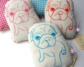 Cuddly Fabric Pug Plush - Hattie Design in Teal