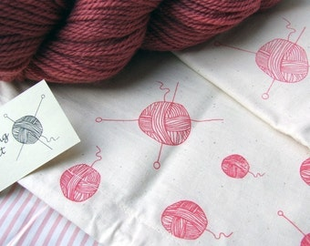 Hand printed Knitting Project Bag - Sock size
