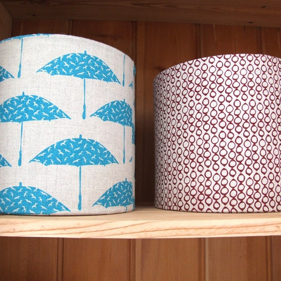 Custom Listing - Hand printed Birdcage Fabric Lampshade Kit in Cherry Red/Pink, 20cm
