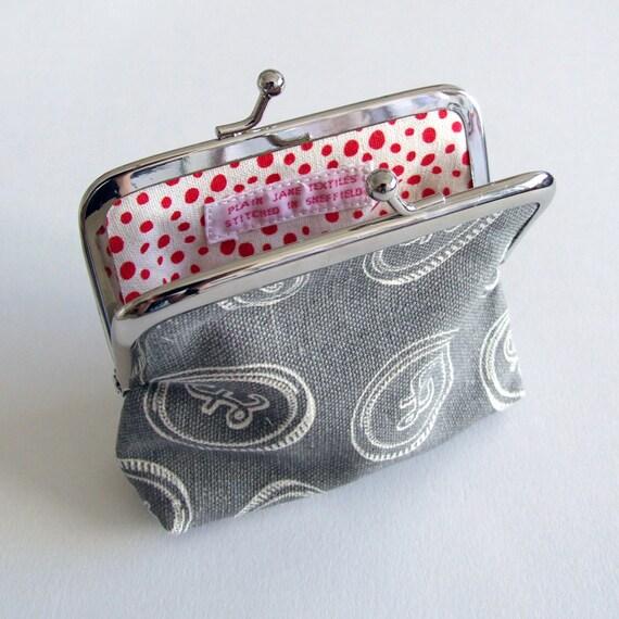 SALE Bubblegum slate grey hand printed coin purse 20% off