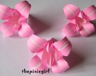 ORIGAMI PAPER HANDMADE 12 Medium Pink Iris Folded Flowers Wedding Anniversary Gift table Decorations