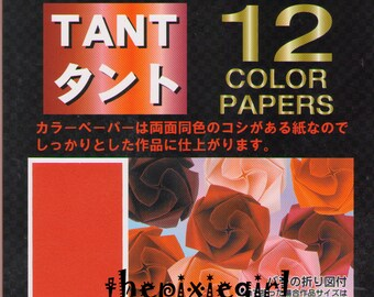 JAPANESE ORIGAMI PAPER Pink Red Tones 48 Sheet Semi-textured Double Sided 15cm