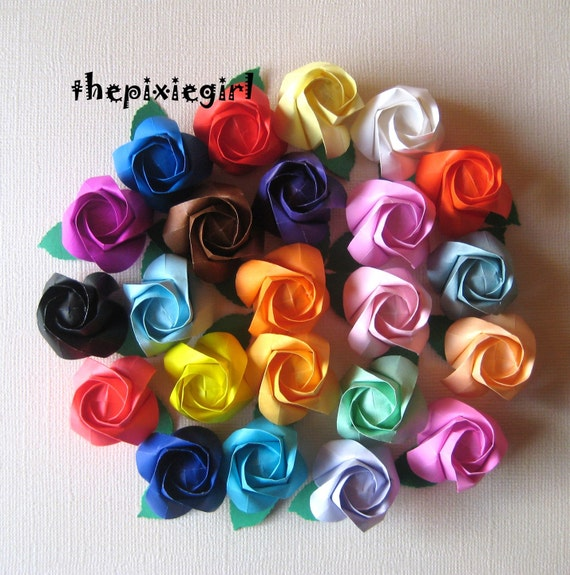 HANDMADE Paper origami 12 ROSE Buds FLOWERS Anniversary Wedding Gift You Pick the Colors
