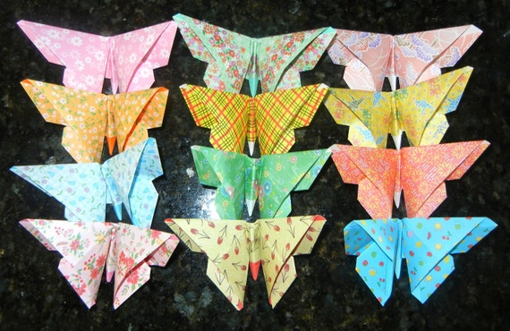 ORIGAMI PAPER HANDMADE Folded 12 Large Butterfly Butterflies gift Card Table Toppers