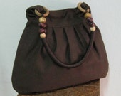 Sale - Choco Brown Canvas Bag with Rope Beads Strap - Shoulder bag, Messenger bag, Tote, Travel bag, Women