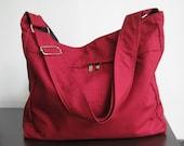 Sale - Maroon Cotton Twill Hobo Bag with Adjustable Strap, messenger bag, diaper bag, tote, handbag